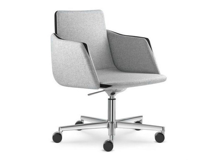 Height-adjustable task chair with 5-Spoke base with casters HARMONY | Task chair with armrests - LD Seating