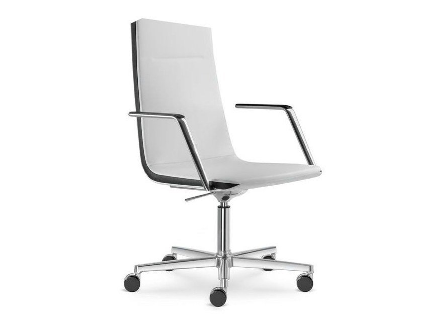Height-adjustable swivel executive chair with armrests HARMONY | Medium back executive chair - LD Seating
