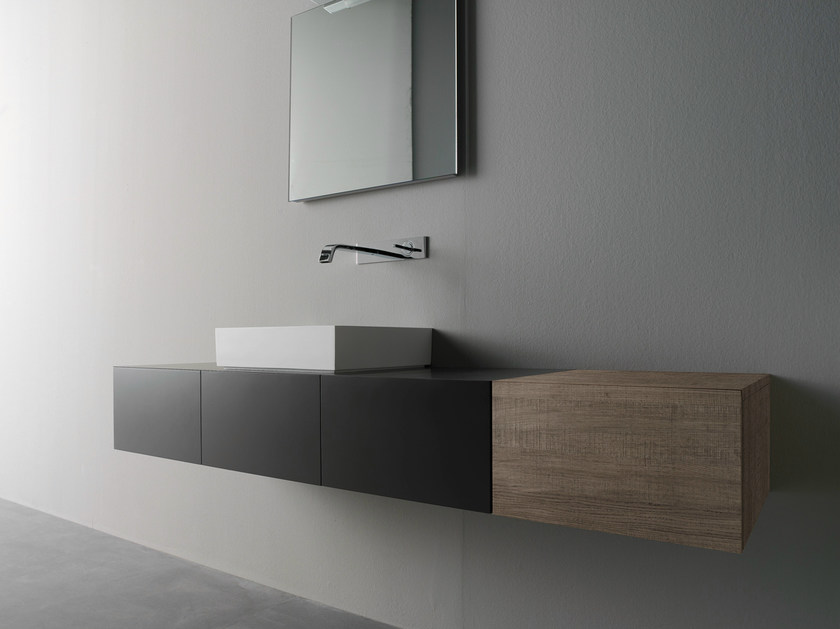 Wall-mounted oak vanity unit with doors BLOCK2 | Vanity unit with doors - Moab 80