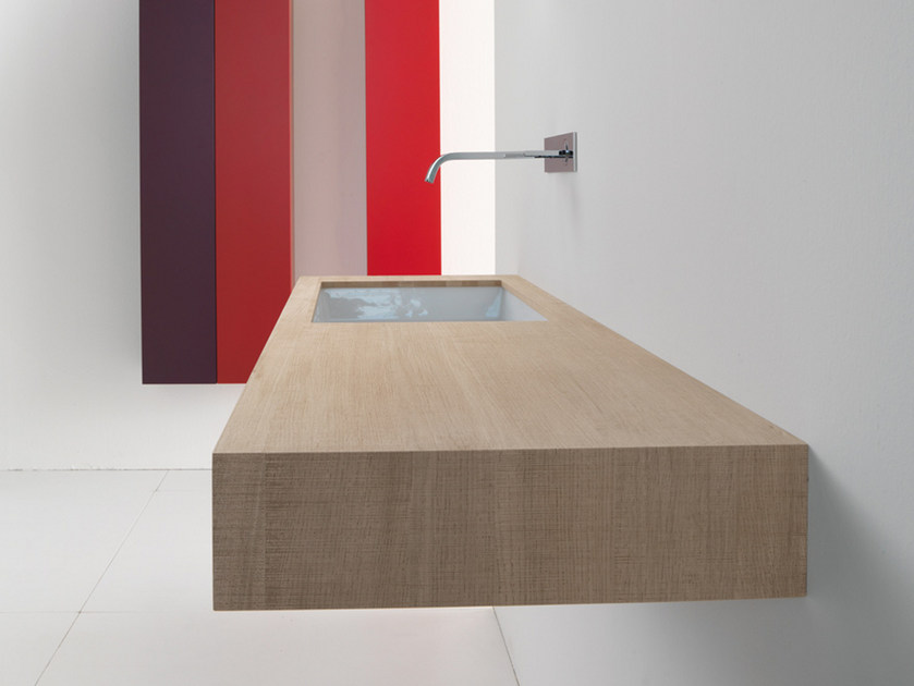 Single sawn oak natural washbasin countertop BLOCK2 | Oak washbasin countertop by Moab80
