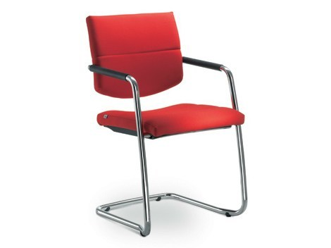 Cantilever leather visitor's chair with Armrests LASER | Visitor's chair with Armrests by LD Seating