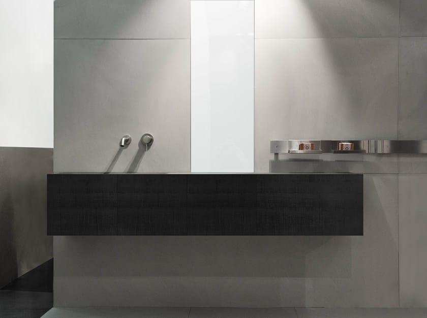 Single oak vanity unit with doors with mirror DOOR | Oak vanity unit by Moab80