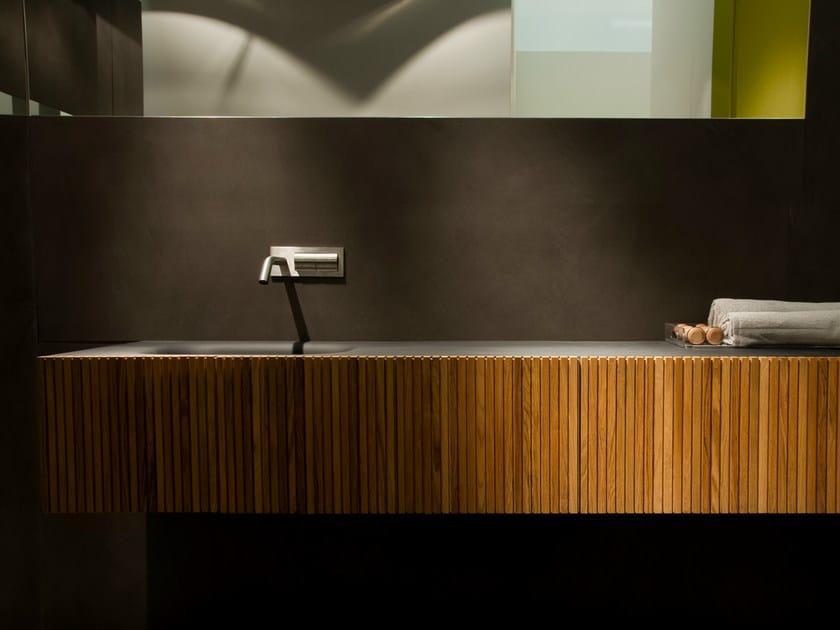 Single teak vanity unit with doors DOOR | Teak washbasin unit - Moab 80