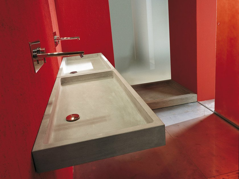 Rectangular single wall-mounted cement washbasin ELLE | Rectangular washbasin - Moab 80