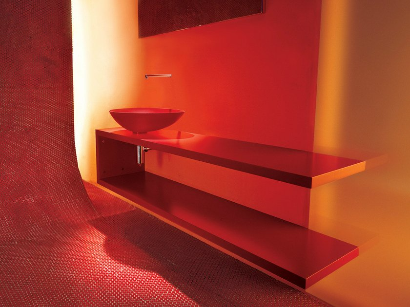 Lacquered wall-mounted vanity unit SHELF - Moab 80