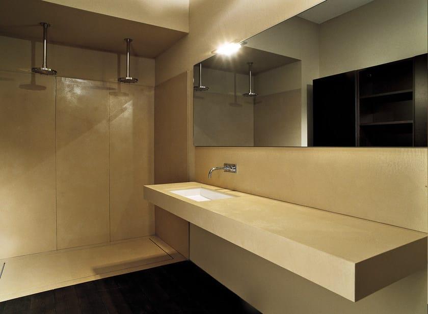 Piano lavabo in prefinito cemento prefinito cemento - Lavabo bagno resina ...