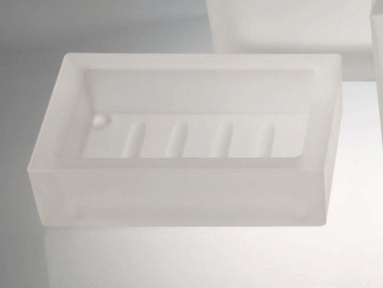 Countertop satin glass soap dish DW 970 - DECOR WALTHER