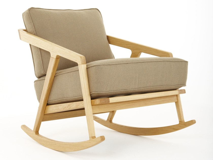 Rocking upholstered chair with armrests KATAKANA | Rocking chair - Dare Studio