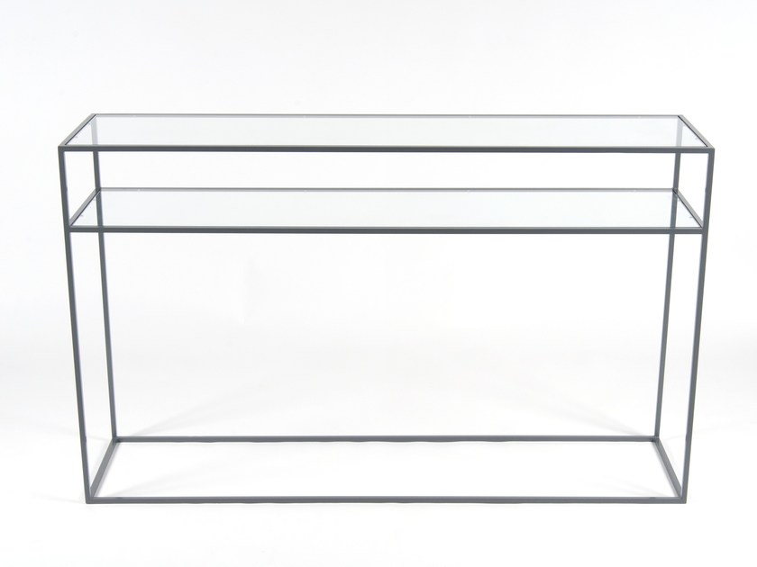 Rectangular glass and steel console table STRAND | Console table - Dare Studio