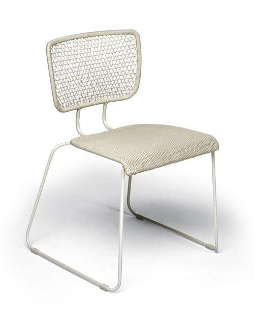 Sled base stackable steel garden chair CORAL REEF | Garden chair - Roberti Rattan
