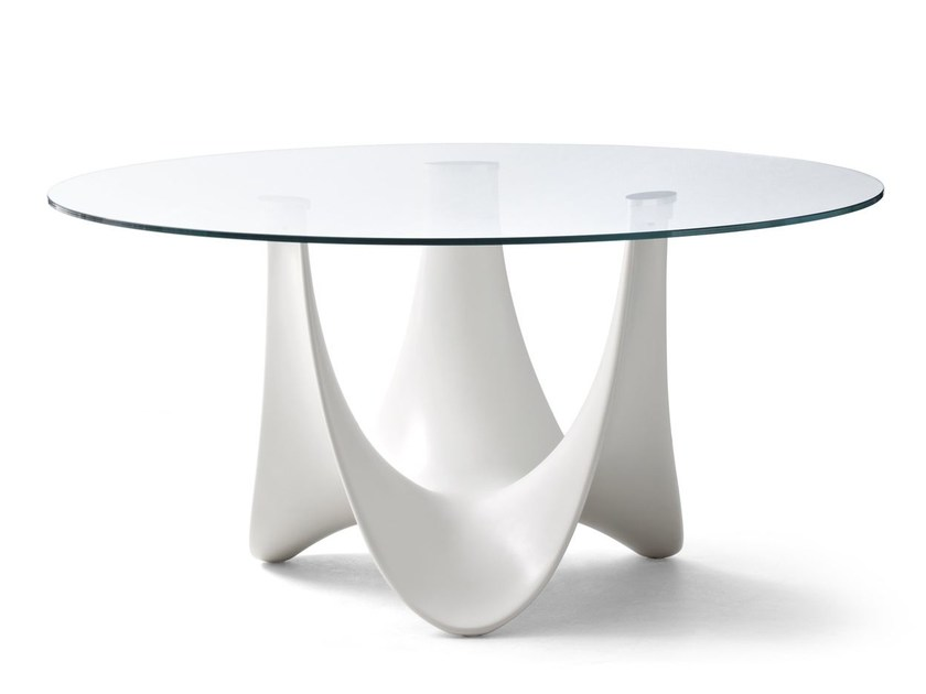 Round fiberglass garden table CORAL REEF | Round garden table - Roberti Rattan