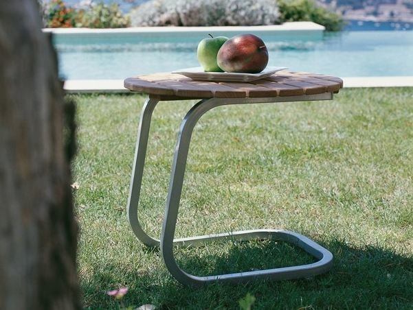 Low Round aluminium garden side table SAMBA | Garden side table - Roberti Rattan