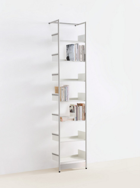 Wall-mounted powder coated steel shelving unit MEDIUM POOL - MOX