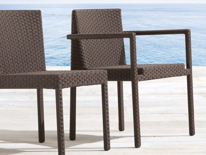 Stackable aluminium garden chair with armrests SAINT TROPEZ | Garden chair with armrests - Roberti Rattan
