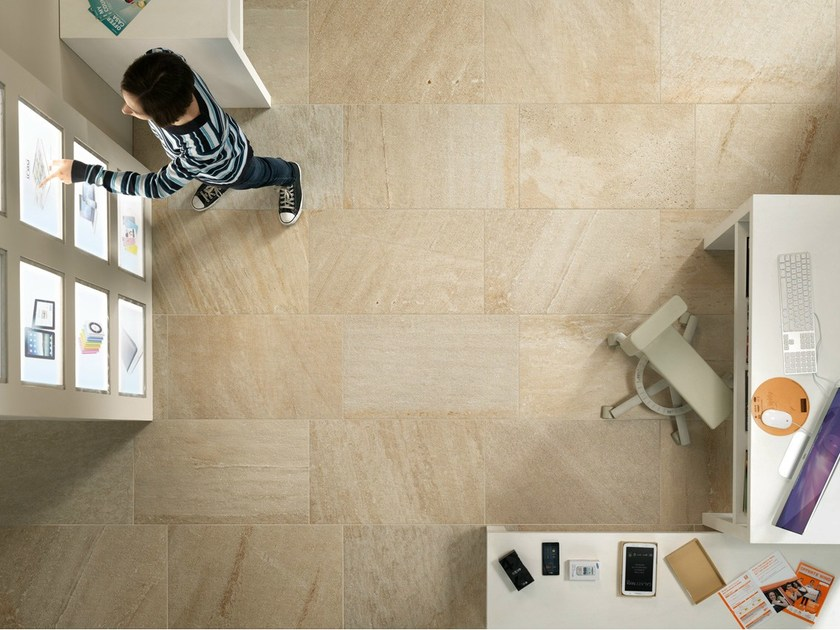 Porcelain stoneware wall/floor tiles with stone effect QUARTZ DESIGN CREAM - EDIMAX CERAMICHE