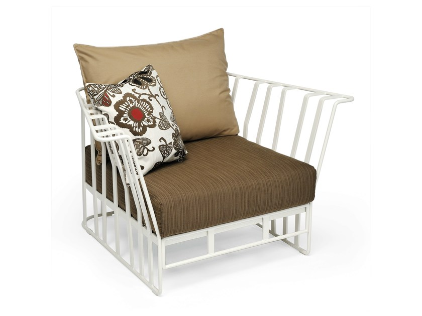 Aluminium garden armchair with armrests HAMPTONS GRAPHICS | Garden armchair - Roberti Rattan