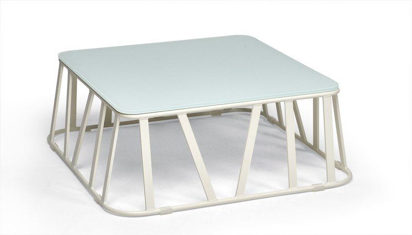 Low Square aluminium garden side table HAMPTONS GRAPHICS | Square coffee table by Roberti Rattan