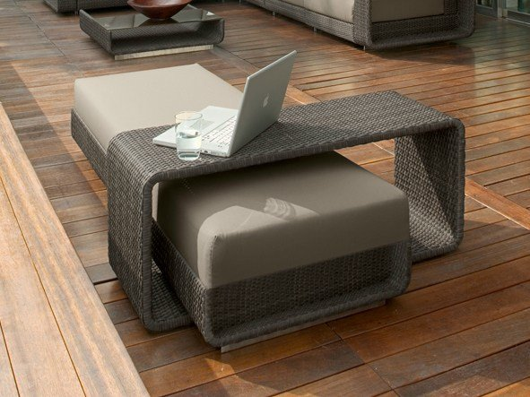 Low Rectangular aluminium garden side table HAMPTONS | Garden side table - Roberti Rattan