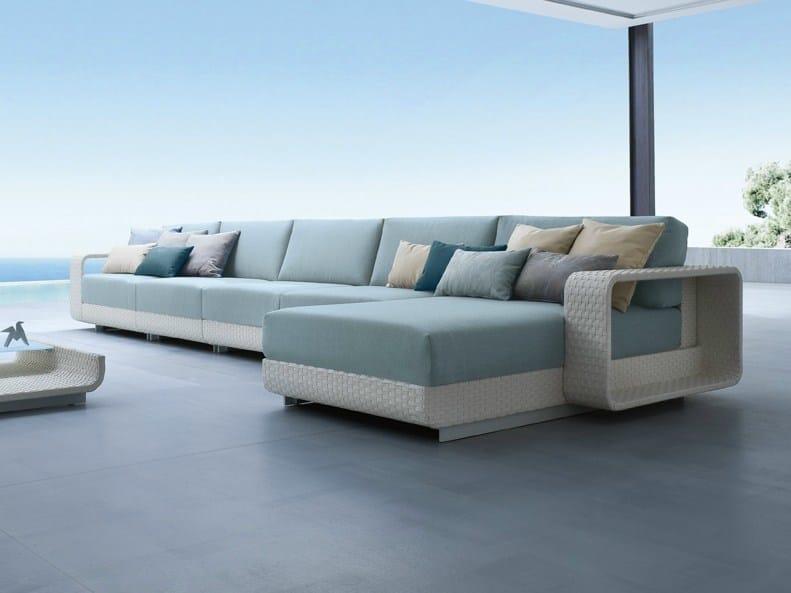 Sectional modular aluminium garden sofa HAMPTONS | Sectional garden sofa - Roberti Rattan
