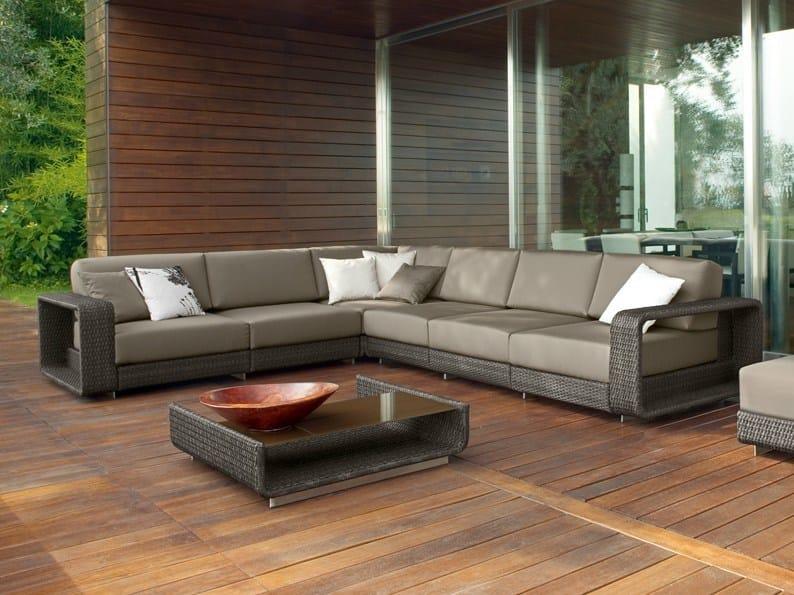 Corner sectional modular aluminium garden sofa HAMPTONS | Corner garden sofa - Roberti Rattan