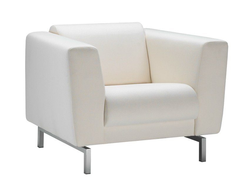 Upholstered fabric armchair with armrests CASSALA | Armchair - Stouby Furniture