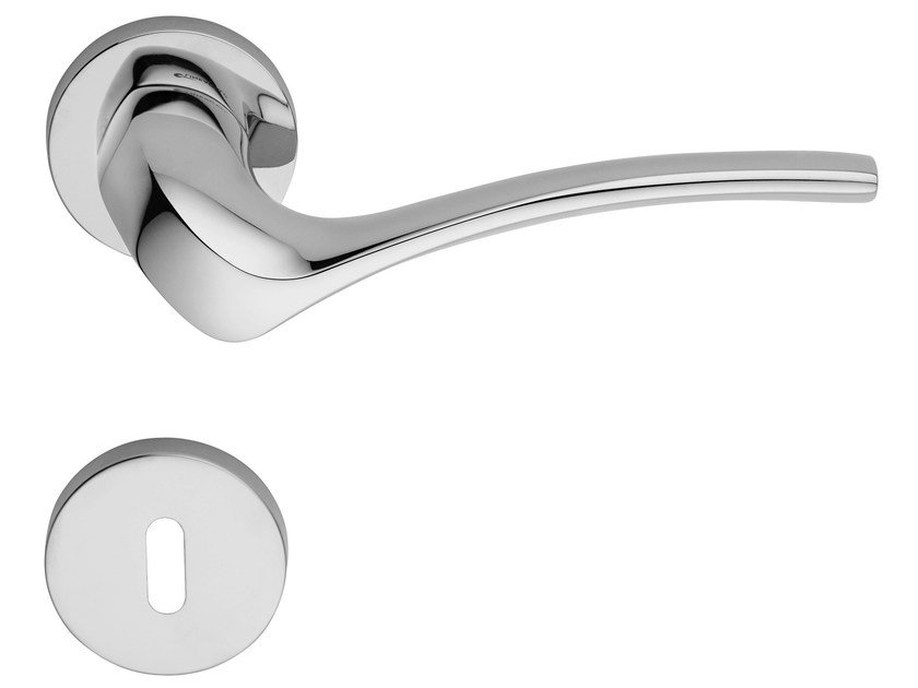 Chromed brass door handle on rose with lock IBIS | Door handle with lock - LINEA CALI'