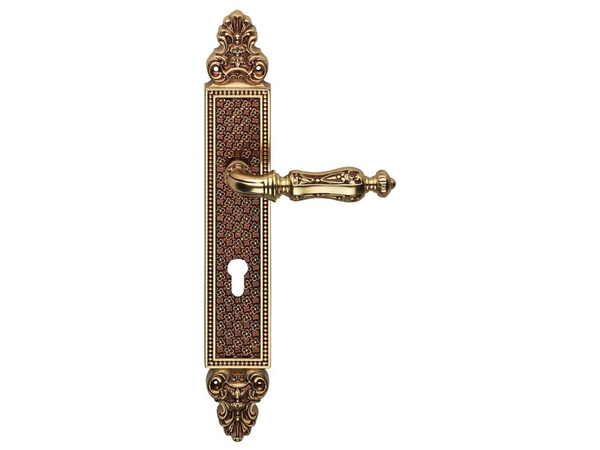 Chromed brass door handle on back plate SOLEIL   Door handle on back plate - LINEA CALI'