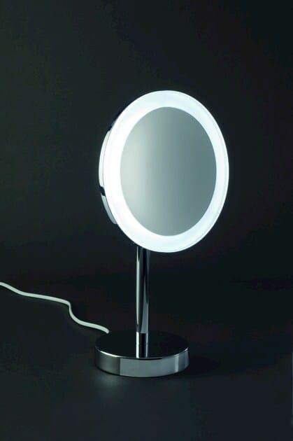 Specchio ingranditore con illuminazione integrata da appoggio bs 63 decor walther - Specchio da appoggio ...