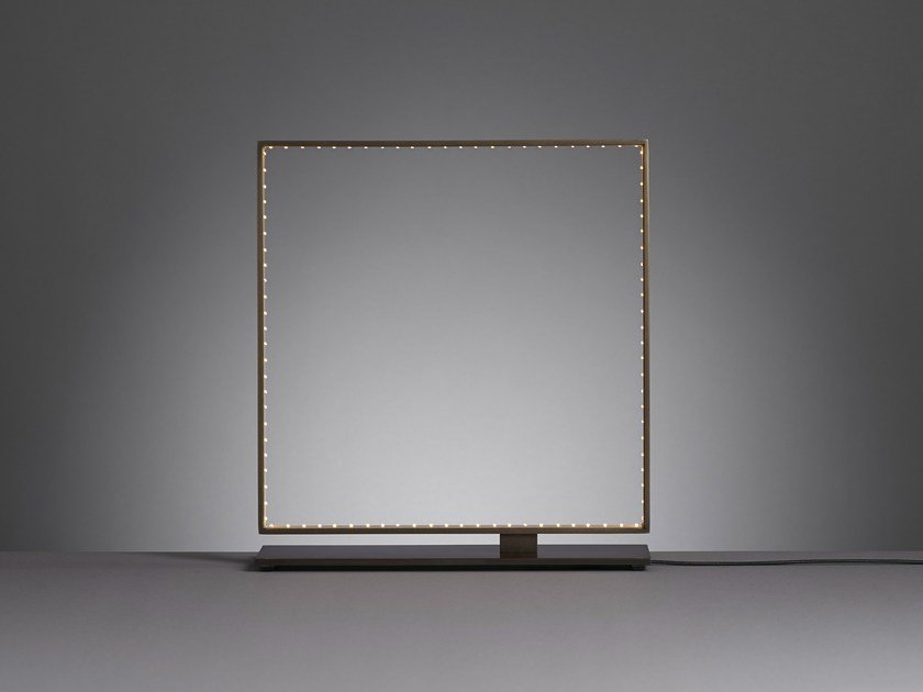 LED direct-indirect light metal table lamp SQUARE 30 by Le Deun Luminaires