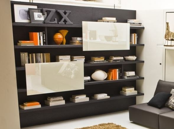 Modular wooden storage wall BOISERIE by CLEI