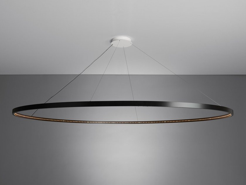 Led direct indirect light steel pendant lamp omega 200 by for Suspension luminaire triple