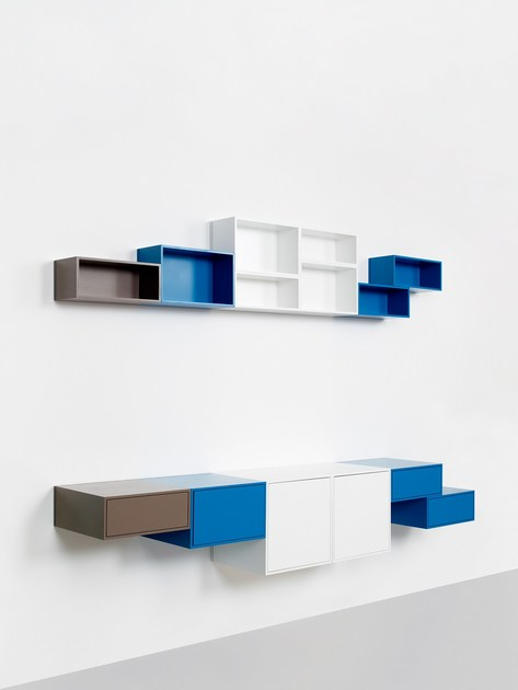 Contemporary style sectional bookcase Wall-mounted modular bookcase - Cubit by Mymito