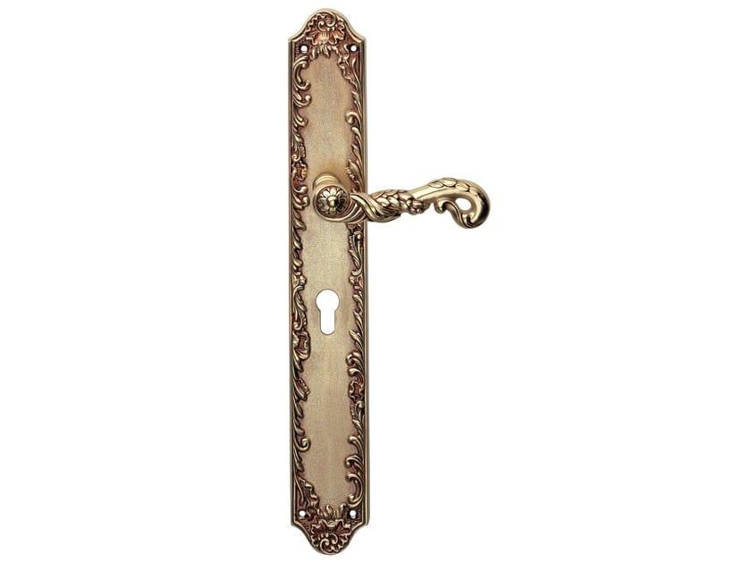 Chromed brass door handle on back plate POESIA | Door handle on back plate - LINEA CALI'