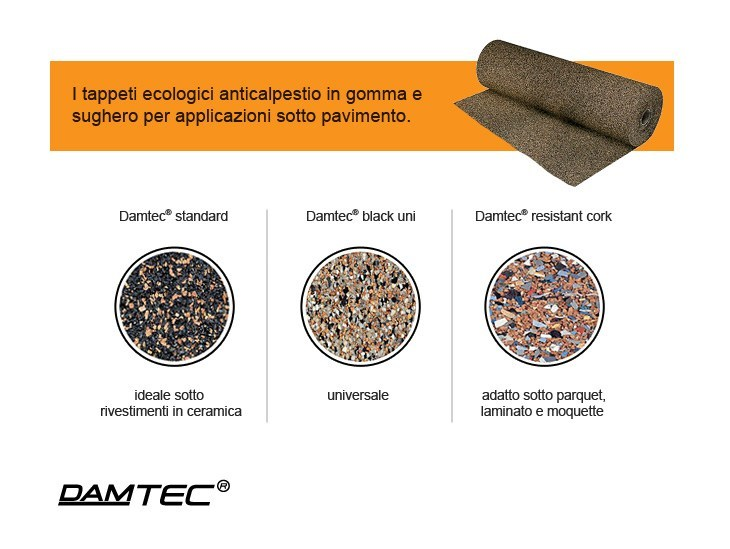 Rubber Impact insulation system for flooring and stairs Damtec - Lape HD