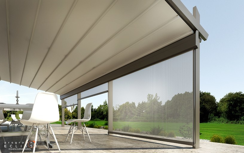 terrassen berdachung aus aluminium mit faltdach mit integrierter beleuchtung majestic by dirello. Black Bedroom Furniture Sets. Home Design Ideas