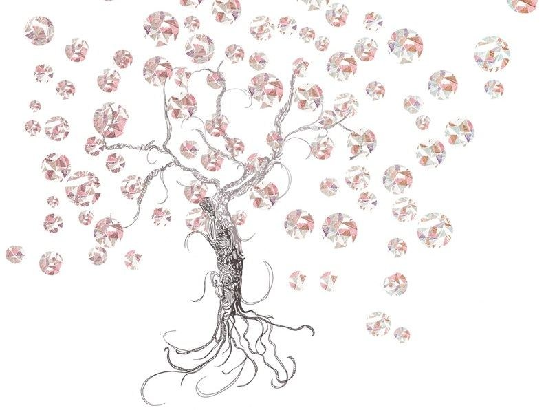Wallpaper with floral pattern B-TREE - Wall&decò