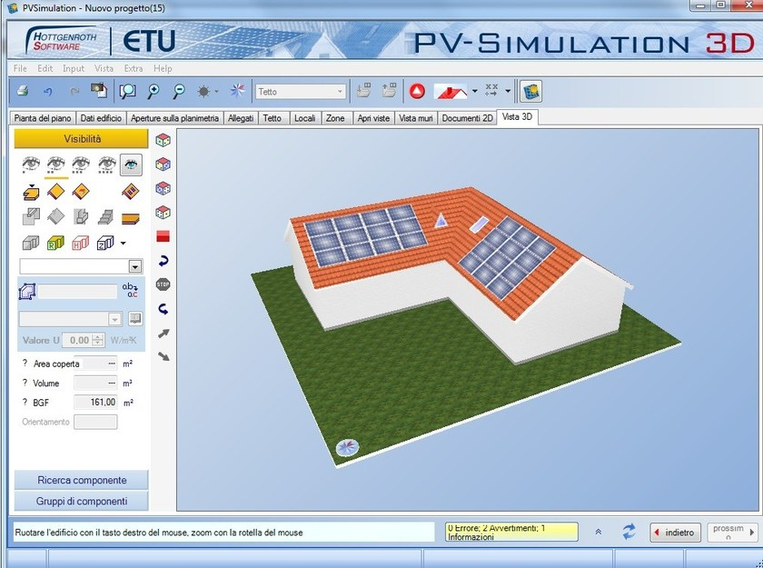 Solar, photovoltaic plant calculation PV-Simulation 3D - EDILCLIMA