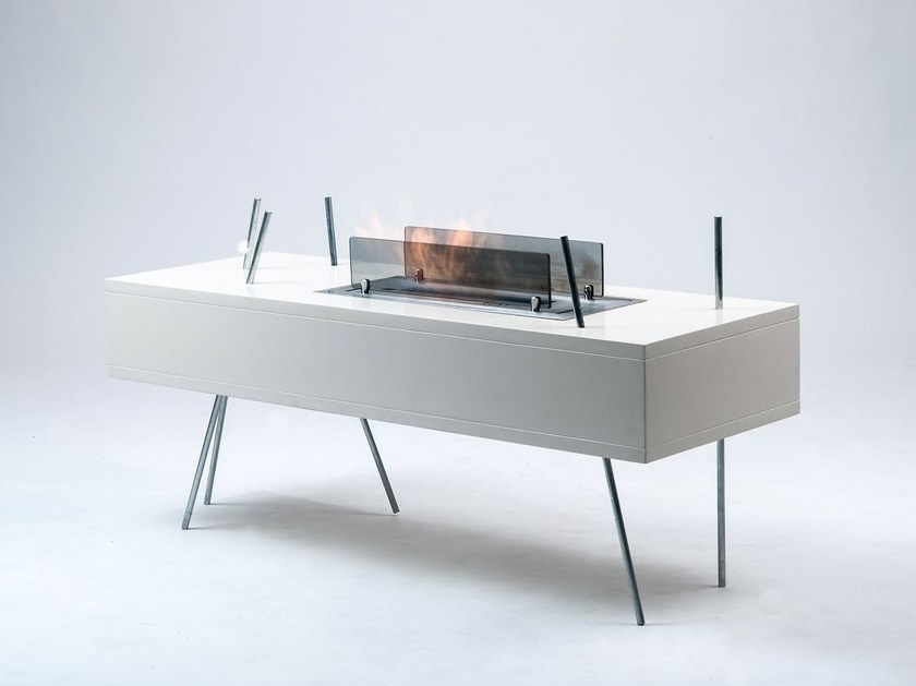 Bioethanol double-sided freestanding fireplace GOR by Officine del Fuoco
