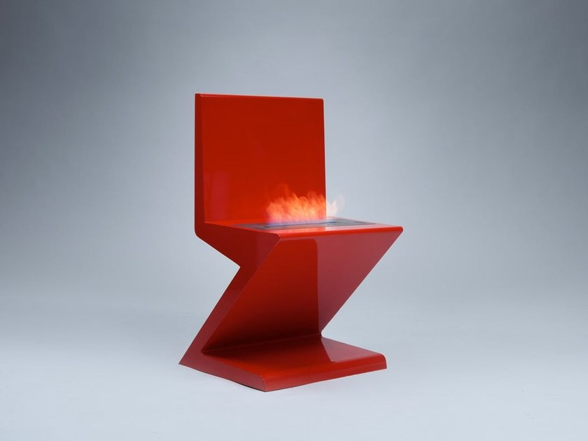Bioethanol freestanding metal fireplace HOT CHAIR - Officine del Fuoco by British Fires