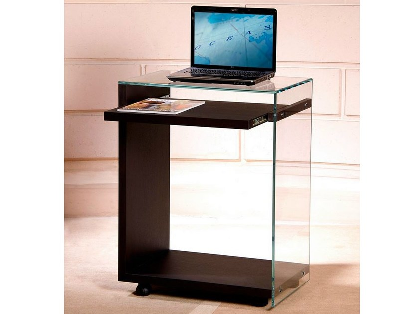 Tempered glass computer cabinet with casters LAPTOP - ZEN 7 - Adentro