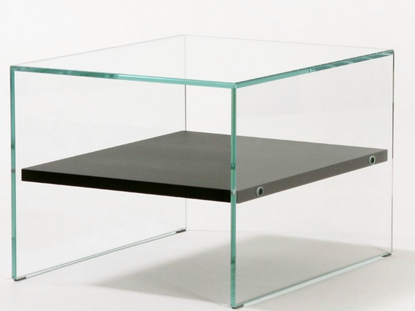 Small table with extra clear tempered glass frame BROTHERS - ZEN 2 - Adentro