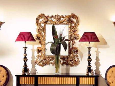 Wall-mounted framed rectangular mirror FOGLIA by Transition by Casali