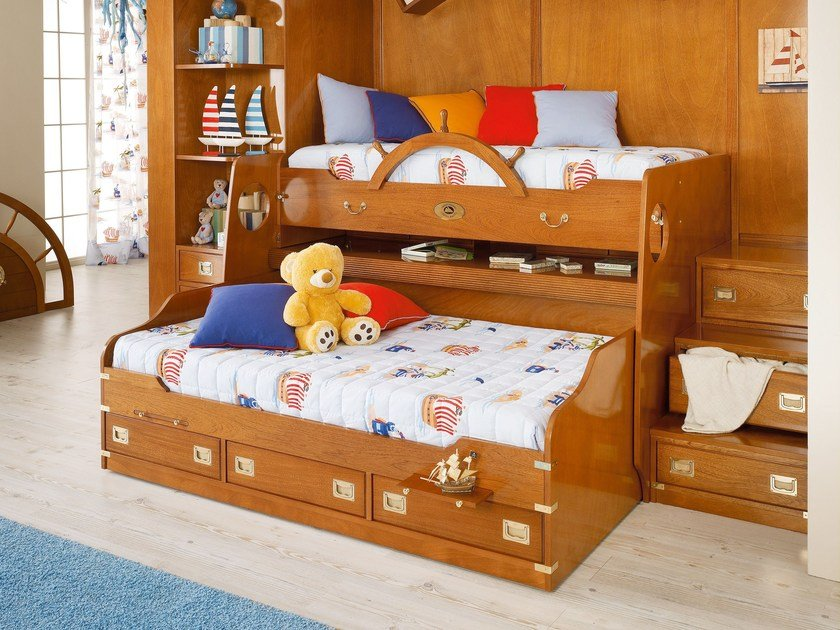 Solid wood bunk bed with cabinet 244 | Bed with cabinet by Caroti