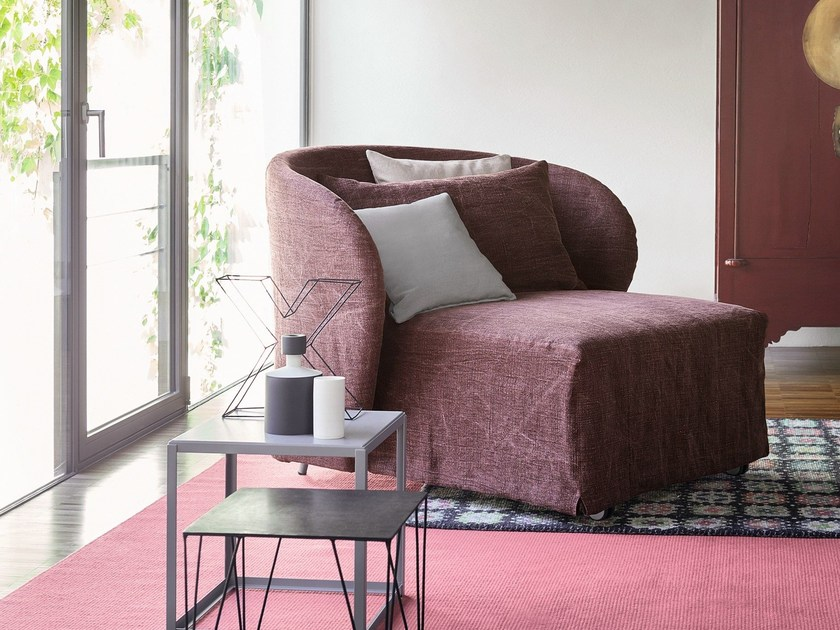 Upholstered armchair with removable cover CÉLINE | Armchair bed by Flou
