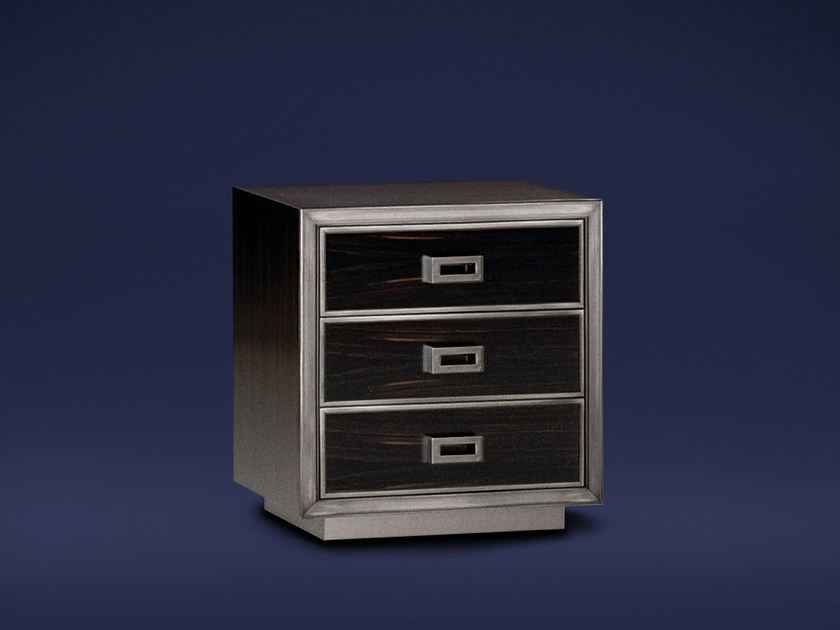 Square ebony bedside table with drawers MONTENAPOLEONE | Bedside table - Flou