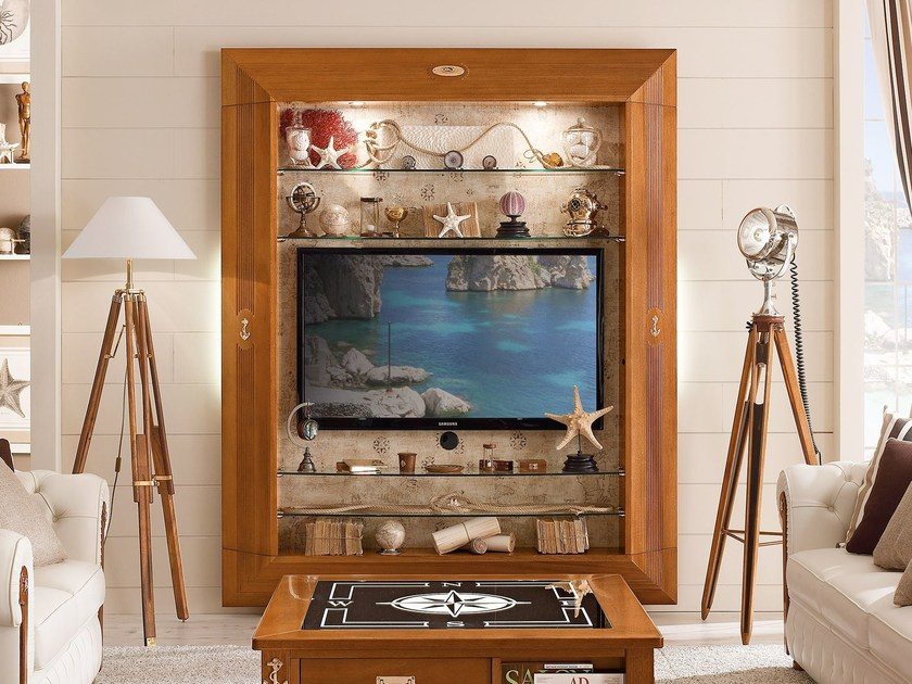Wooden TV cabinet with shelves FRAME | TV wall system - Caroti