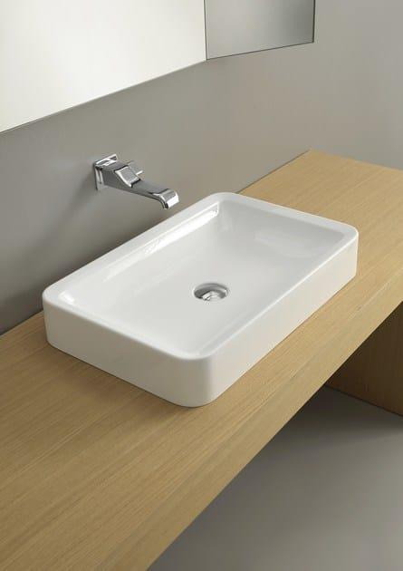 Lavabo da appoggio rettangolare in ceramica nile 62 lavabo da appoggio ceramica flaminia - Flaminia sanitari bagno ...