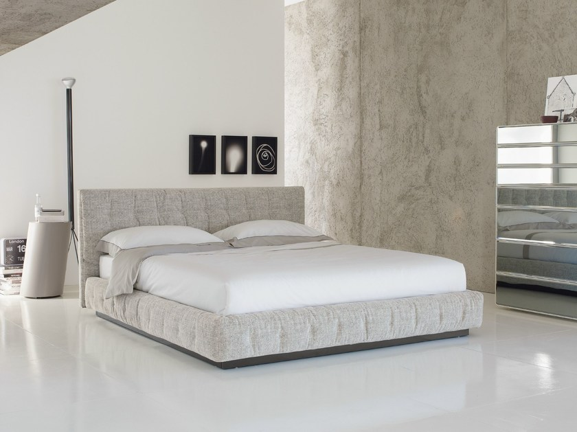 Storage bed with upholstered headboard PINCH - Flou