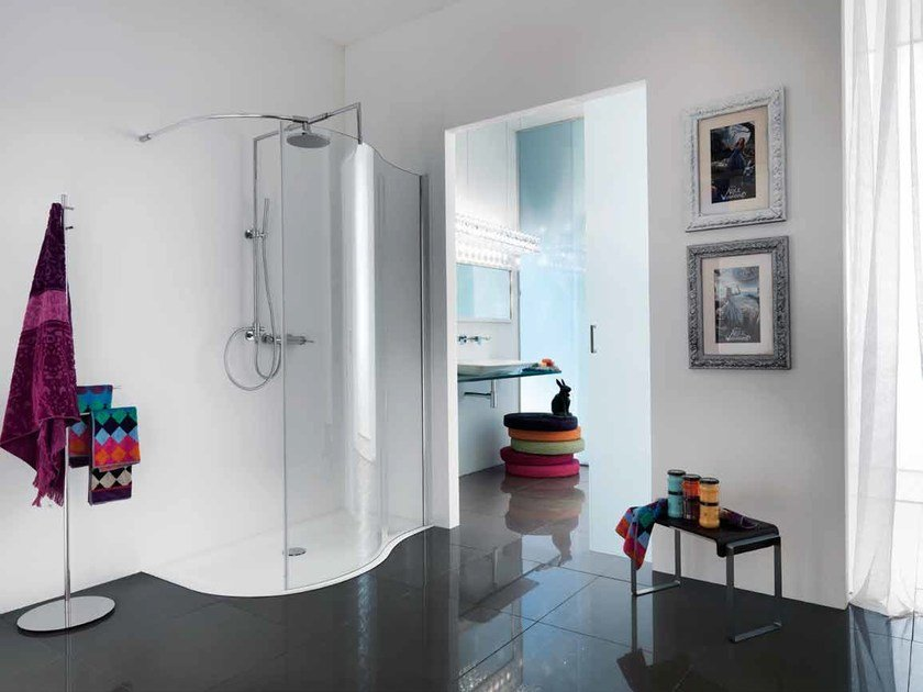 Shower cabin with tray OPEN SPIN - Samo