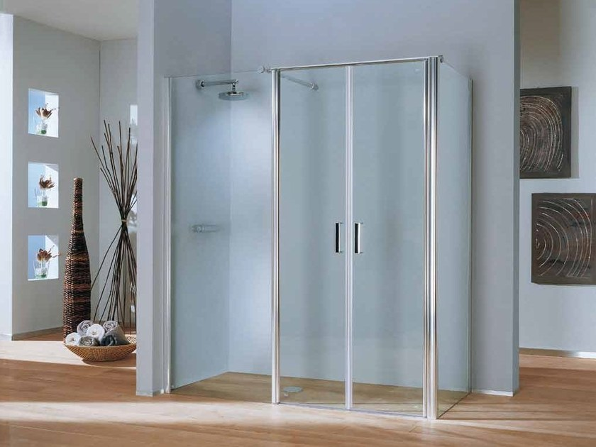 2 places corner shower cabin with hinged door POLARIS DELUXE | 2 places shower cabin by Samo